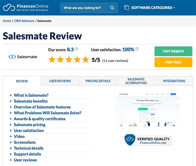 Salesmate review financesonline