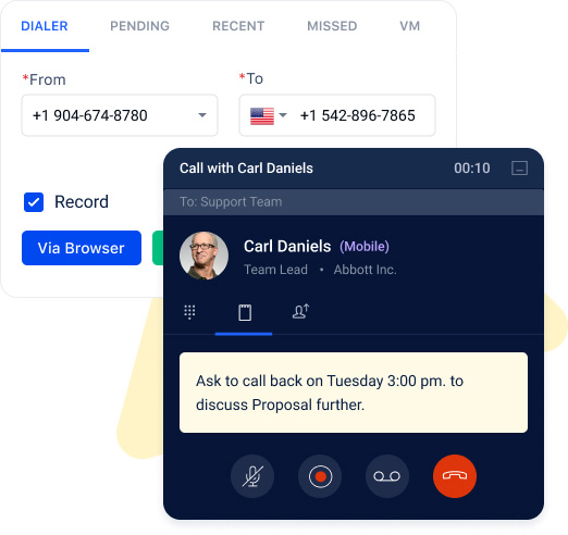 Make and receive calls right from the CRM