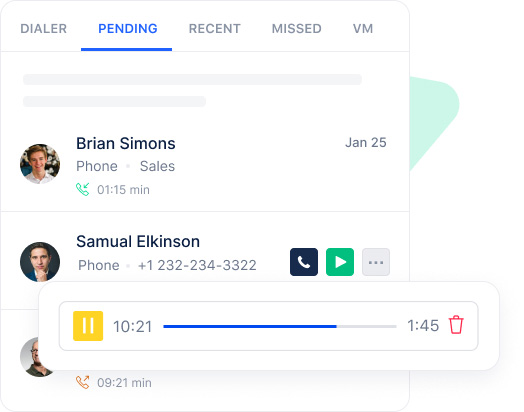 Record calls to stay updated with every call detail