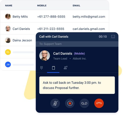 Make calls right from your CRM screen