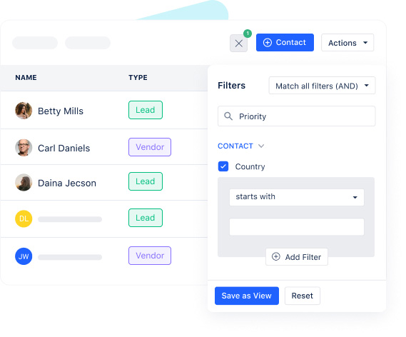 Track, manage and segment contacts